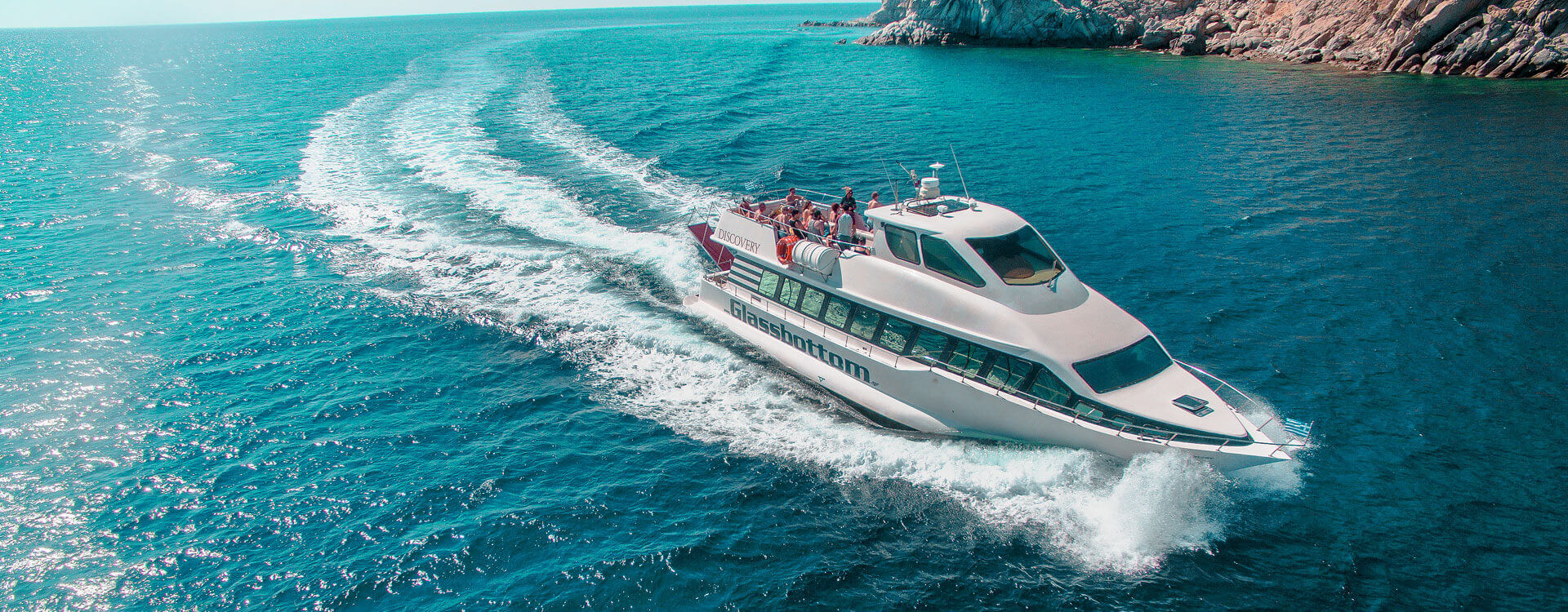 The Discovery Glassbottom Yacht | Mykonos Cruises, Events, Boat for Rent